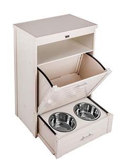 New Age Pet ecoFLEX Dog Food Pantry/Double Dog Bowl-Antique