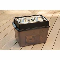 IRIS Large Elevated Feeder with Airtight Storage, Black