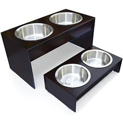PetFusion Elevated Bamboo Dog Feeder .