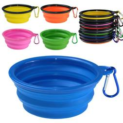Folding Pet Dog Silicone Travel Feeding Bowl Collapsible Foo