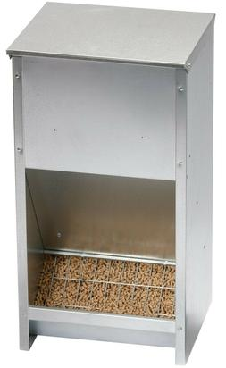 GALVANIZED STEEL HIGH 25 POUND CAPACITY POULTRY CHICKEN FEED