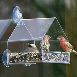 1 Piece Window Bird Feeder Sliding Feed Tray Large Clear Wea