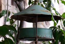 GARDEN Bird Feeder w/chain & hook  Vintage,Worn Weathered Me