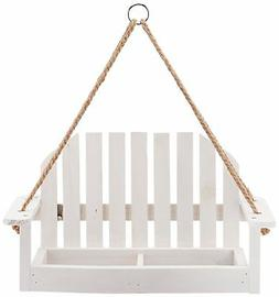 Worth Garden Wooden Bird Feeder with White Swing Chair Desig