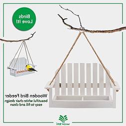 Worth Garden Wooden Bird Feeder with White Swing Chair Desig