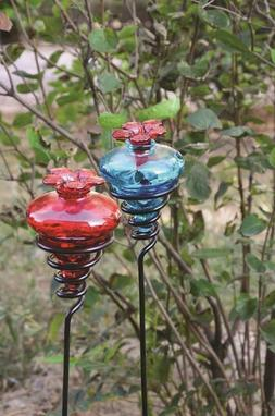 "Glass Flower Hummingbird Feeder w/24""H Metal Yard Stake  *Yo"