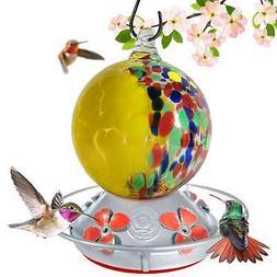 Hand Blown Glass Hummingbird Feeders - Globe Style - 24 Flui
