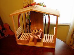 Handmade Cedar Cafe/Table & Chairs Squirrel Feeder w/ Roof