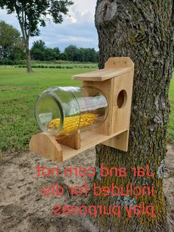 handmade western cedar wood squirrel feeder without