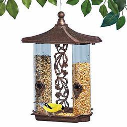 Hanging Tube-Style Bronze-Look Finish Double Sided Bird Feed
