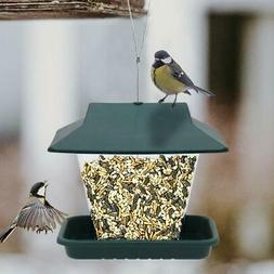 Hanging Wild Bird Feeder with Roof & Hanger for Garden Yard