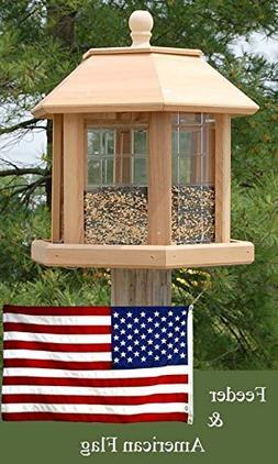 Heath Le Grande Gazebo Bird Feeder and American Flag