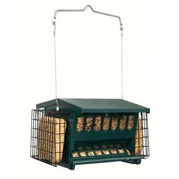 Cherry Valley Feeder Hopper Feeder with Suet Cages, Green