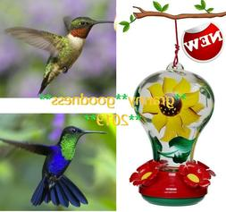 Hummingbird Feeder 4 Feeding Ports  Glass Yellow Bee Guards