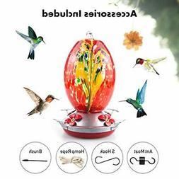 Hummingbird Feeder for Outdoors, Hand Blown Glass, 25 Ounces