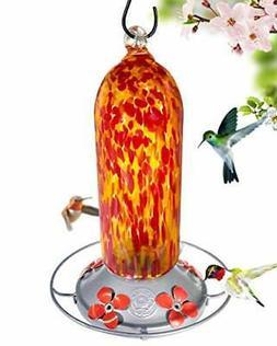 Hummingbird Feeder Hand Blown Glass Fiery Bell Tower 20 Flui