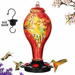 Hummingbird Feeders For Outdoors, Hand Blown Glass, Never Fa