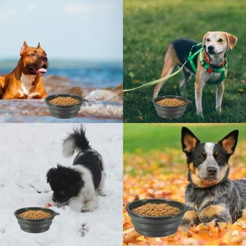 4^Silicone Pet Bowl Dish Feeder Travel