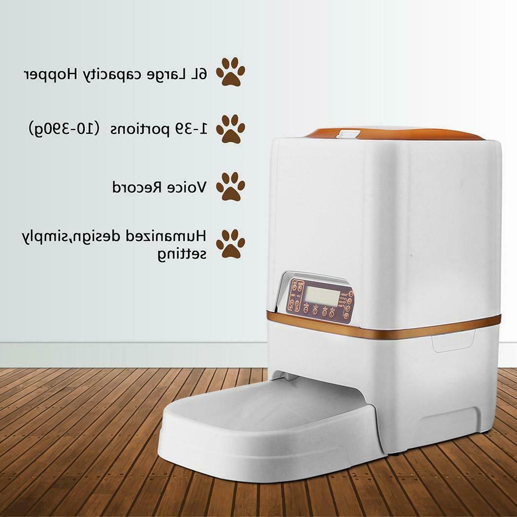 NEW 6L Automatic Pet Feeder Dog Cat Food Control Dispenser T