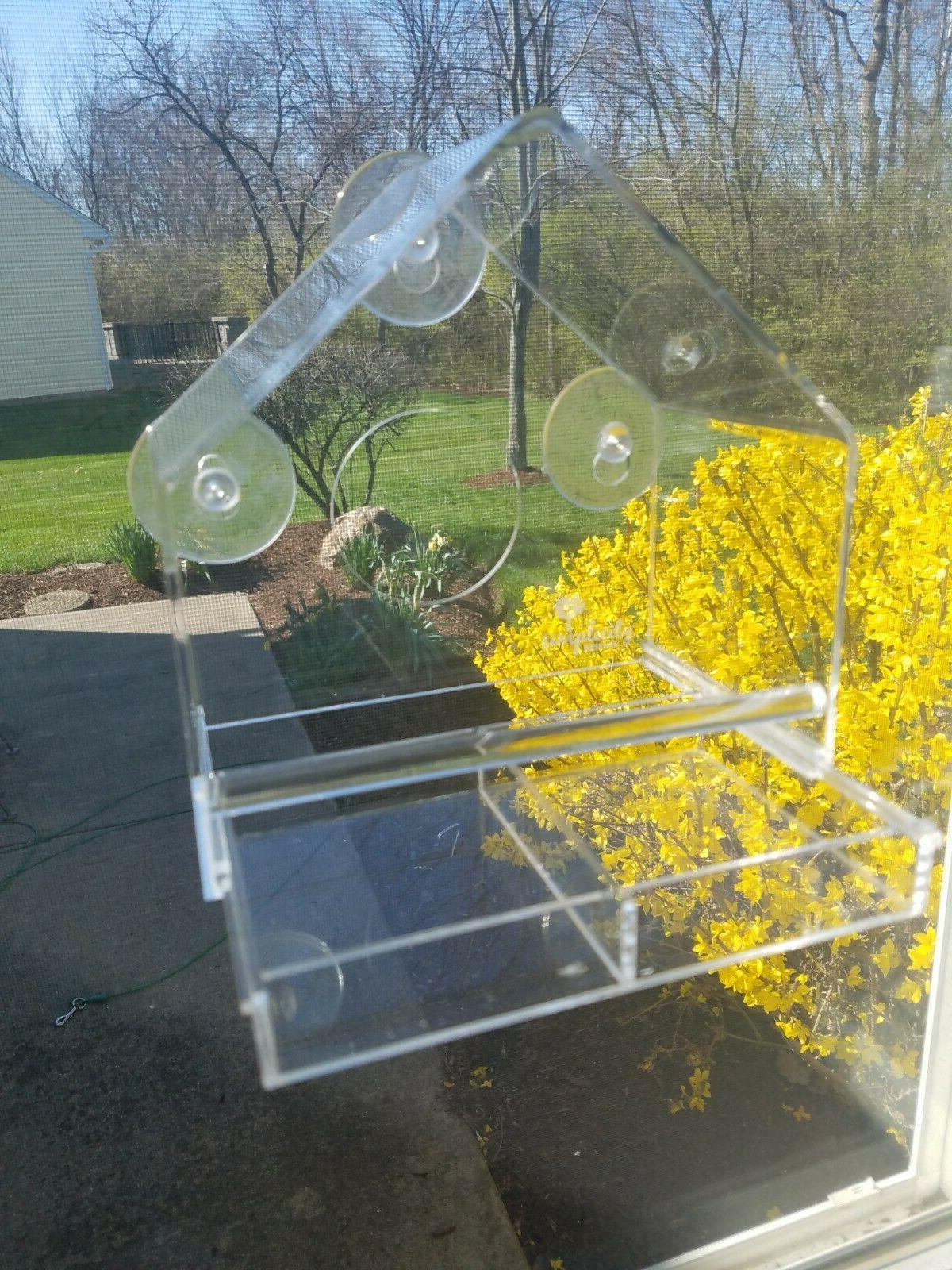 acrylic window bird feeder with removable tray