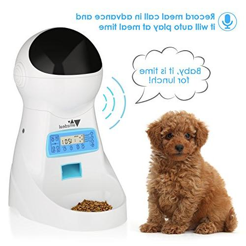 amzdeal Cat Pet Feeder Food Dispenser Time and Meal Size Programmable, Display Meal Recorder Up Meals