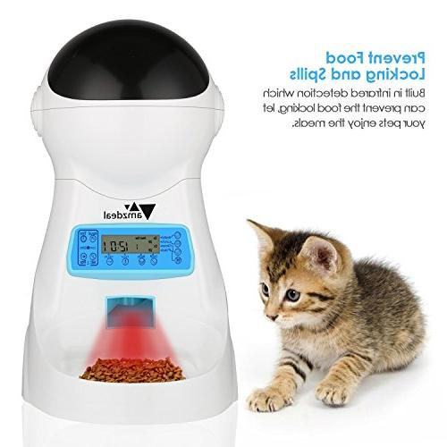amzdeal Automatic Cat Pet Dispenser Meal Size Display Meal Recorder Meals Day