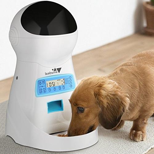 amzdeal Automatic Feeder Pet Feeder Dog Dispenser with Time and Meal Size LCD Display Meal Call Recorder Up to Meals A