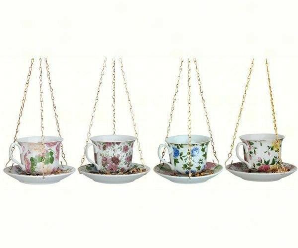 TEACUP BIRD FEEDERS - SET OF 4 Ceramic - Tea cups with Sauce