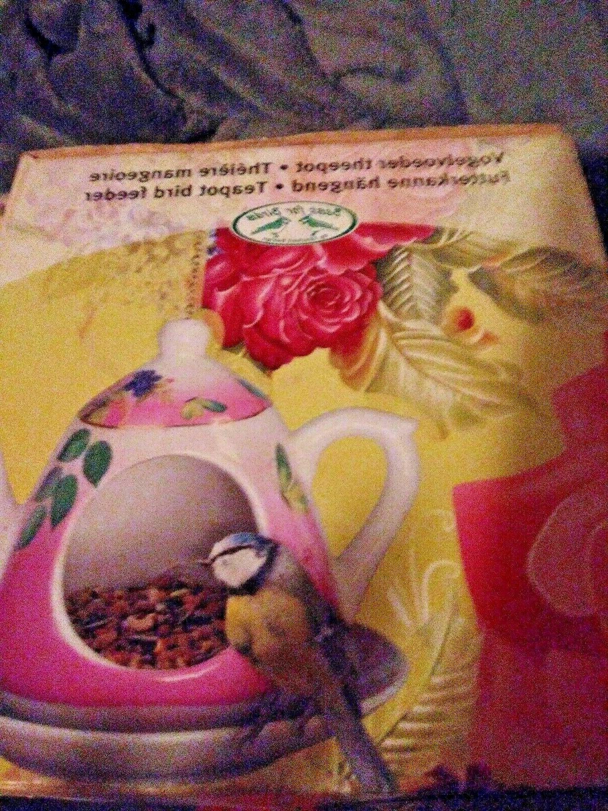 Bird Feeder Design hanging Teapot With Saucer Bird NIB NRFB.