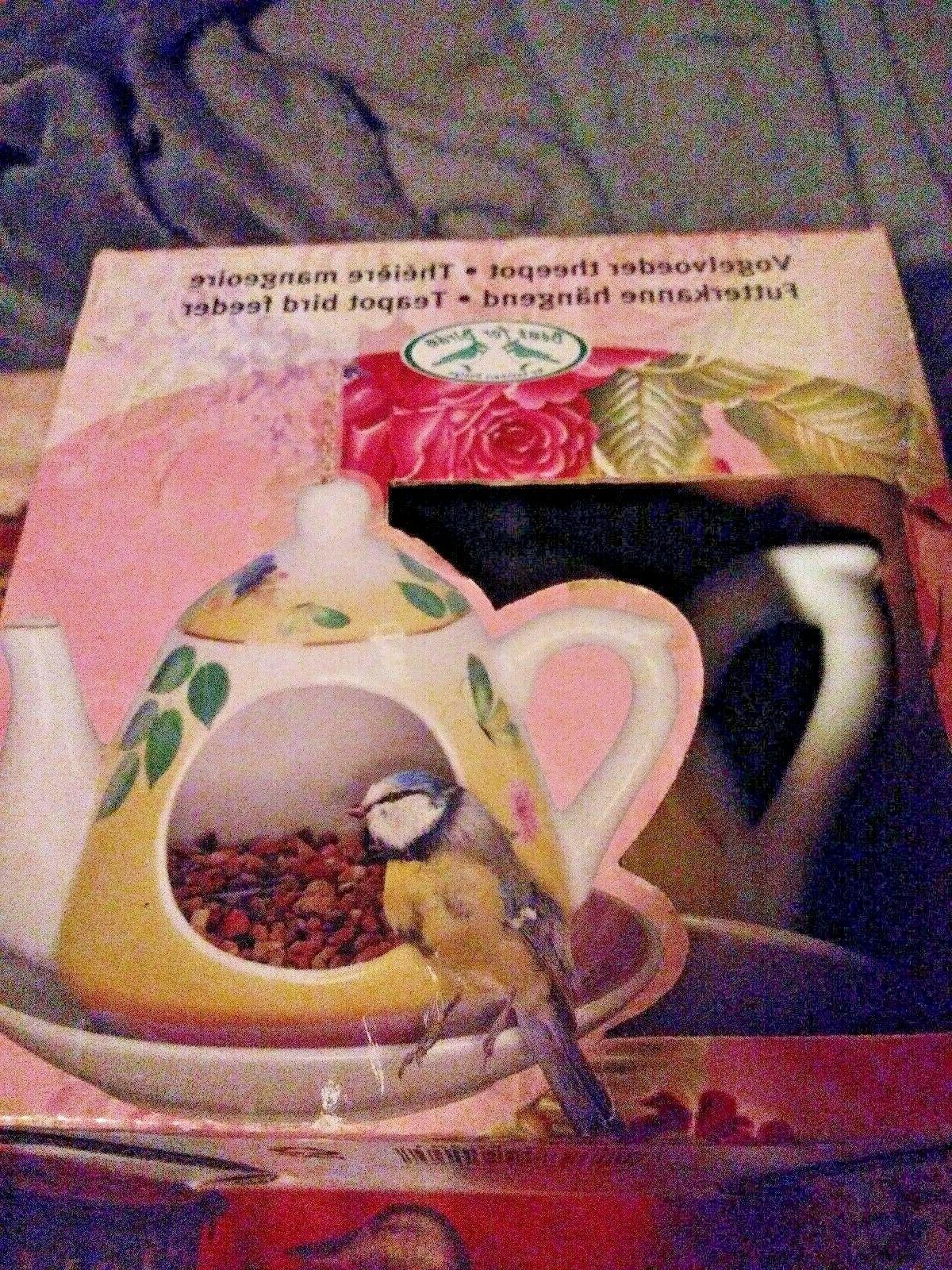 bird feeder hanging teapot with saucer bird