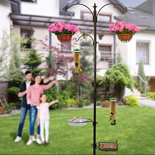 Sorbus Station, Metal Deck Pole for Bird for Birds Outdoors, Backyard,
