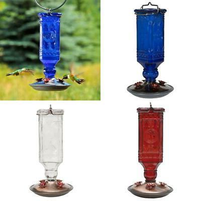 blue antique square decorative glass hummingbird feeder