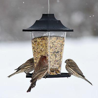 Carriage Bird Feeder Feeding Ports Hanging Pole Mounted