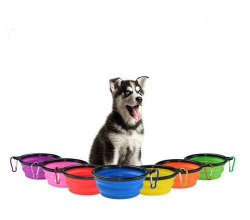 Cat Dog Pet Silicone Feeding Bowl Water Dish Feeder Travel P