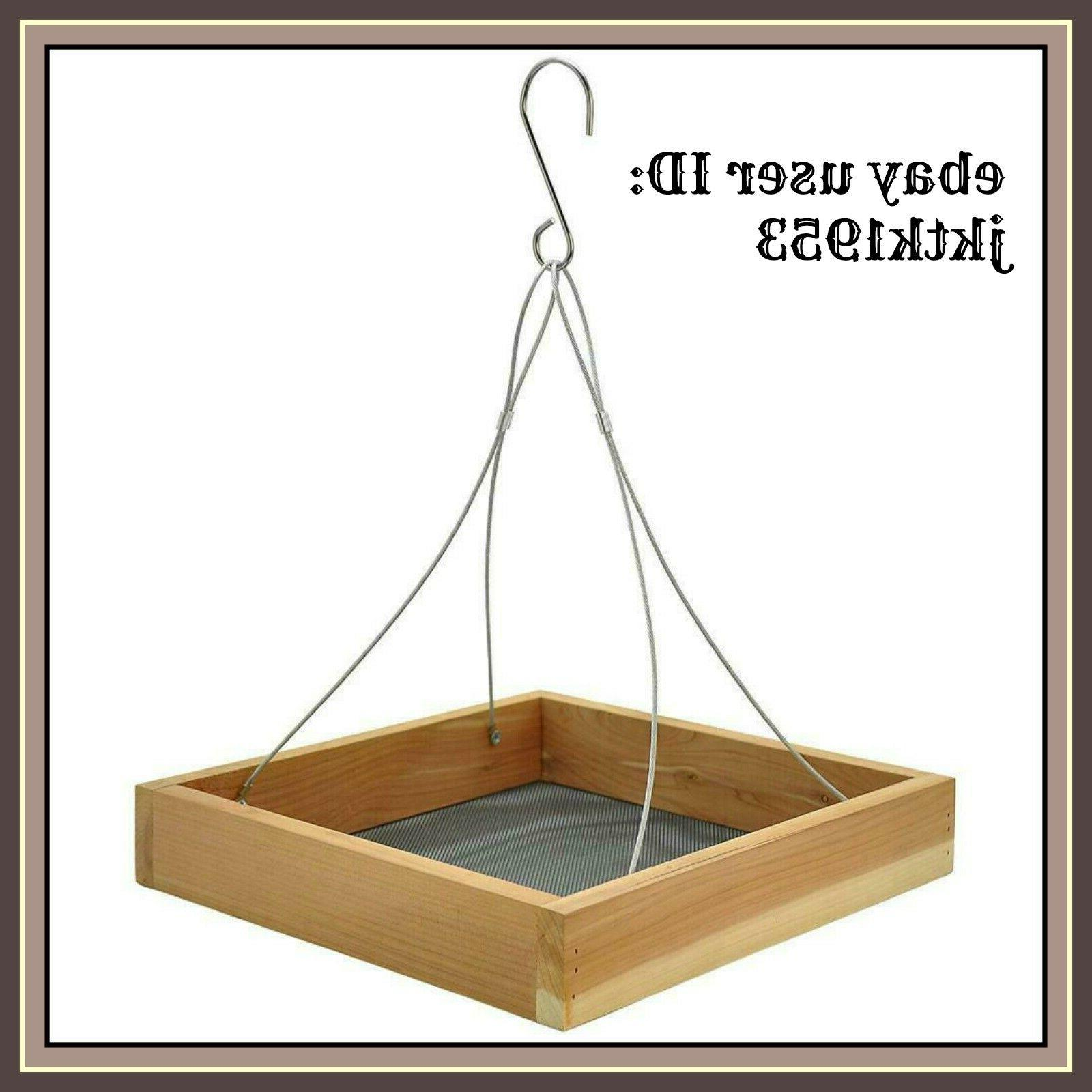 cedar hanging tray bird feeder wild bird