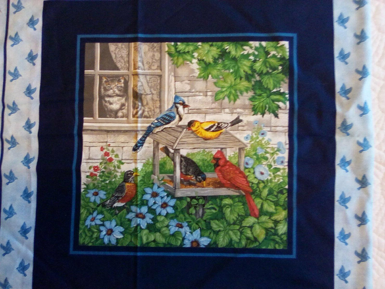 collection cotton fabric panels colorful birds at