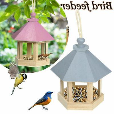 decorative hanging wooden gazebo wild bird feeder