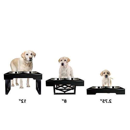 Adjustable Pet Feeding Station Stand Stainless