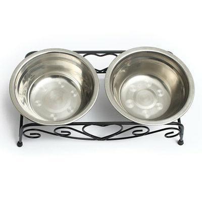 Double Dog Dish Feeder Food