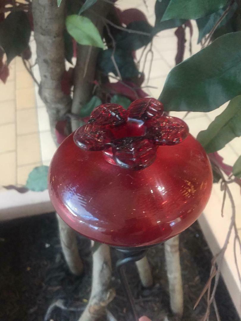 "Glass Flower Hummingbird Feeder w/24""H Yard Stake *Your NEW"
