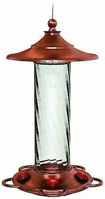 More Birds Glory Hummingbird Feeder, 12-Ounce, Copper and Gl
