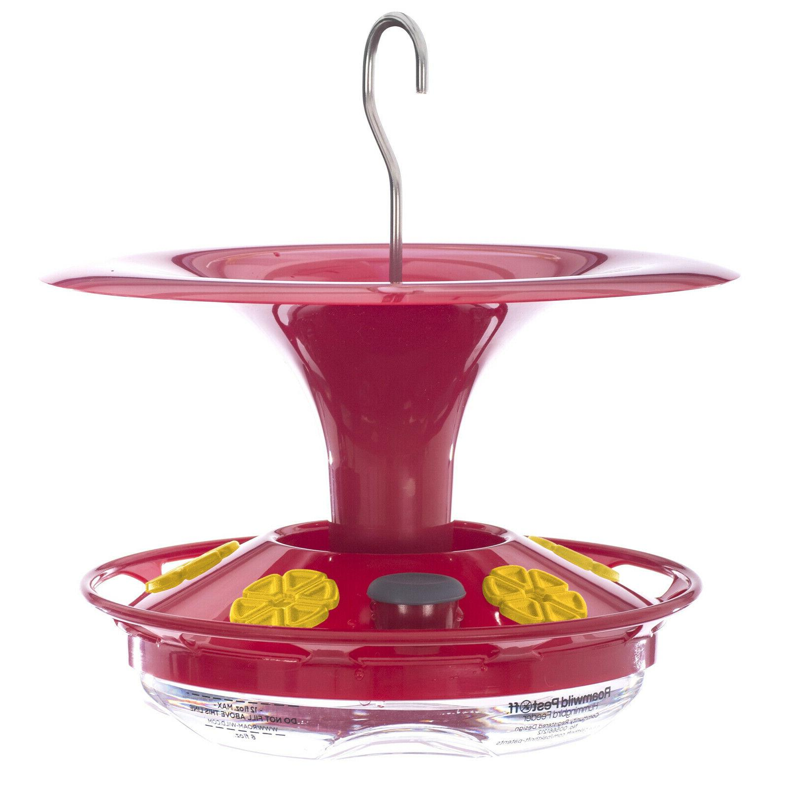 hanging hummingbird feeder with double moat guard
