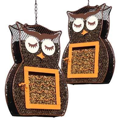 heath dual owl bird feeders