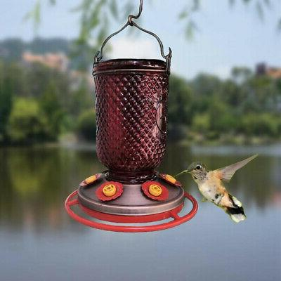 Hummingbird Feeder 6 Ports w/Bee Guards Red Mason Jar Copper