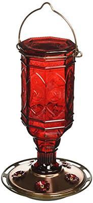 More Birds Hummingbird Feeder Vintage Red Antique Glass Bott