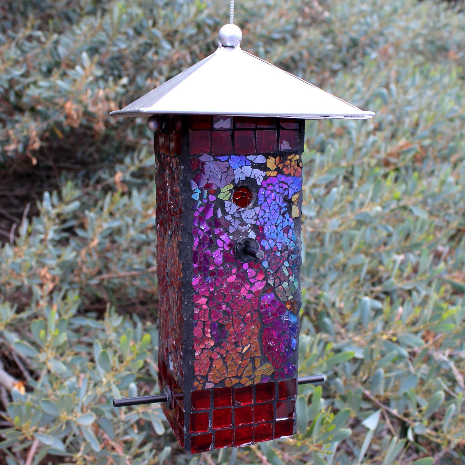 Wild Bird Seed Feeder Mosaic Stained Mirrored Glass Lift-off