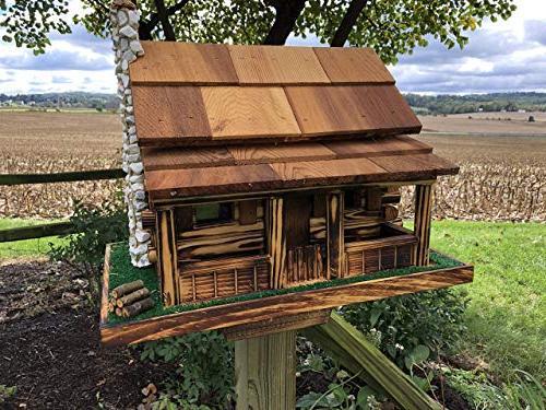 old log cabin feeder