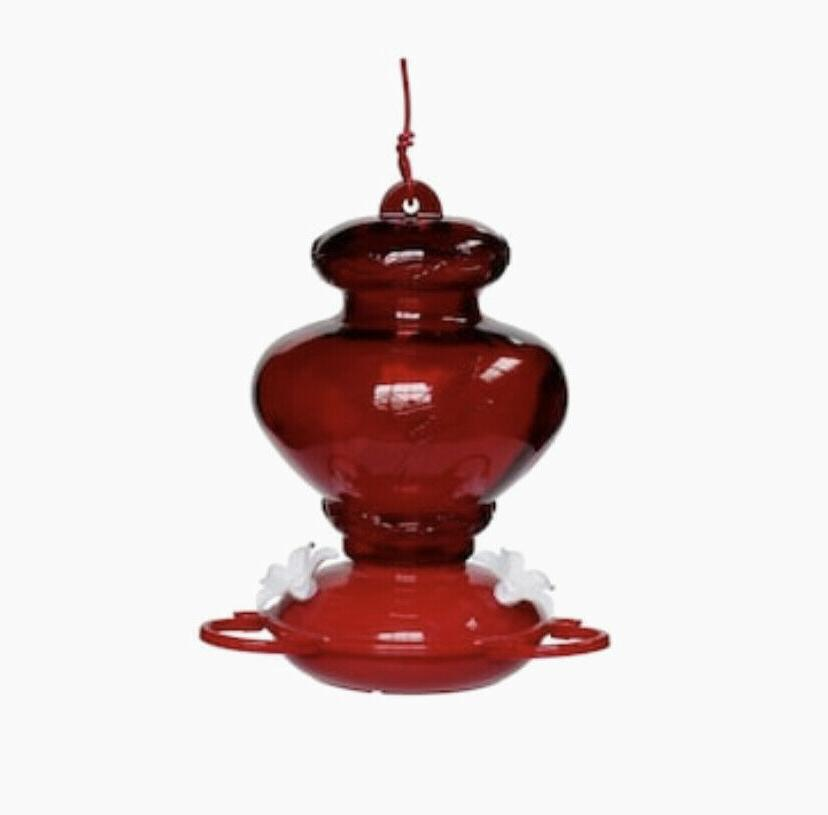 painted red glass hummingbird feeder outdoor decorative