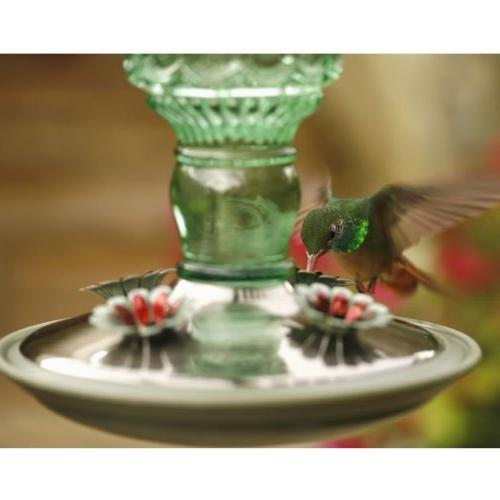 Perky-Pet Green Antique Bottle Glass Hummingbird