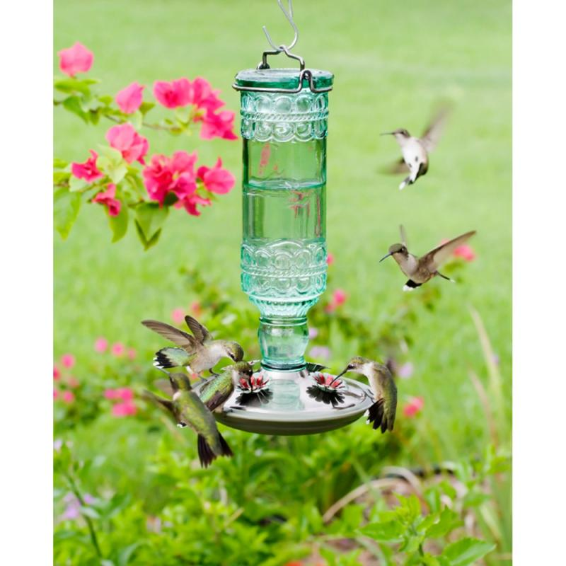 Perky-Pet Green Antique Bottle Glass Hummingbird Wild
